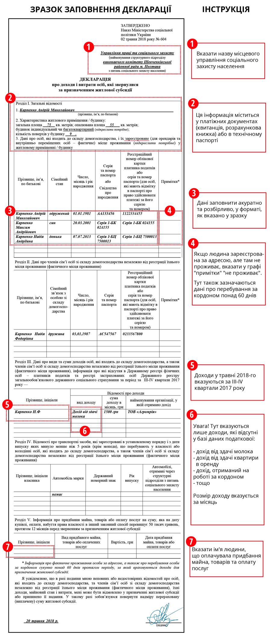 образец заполнения декларации на субсидию